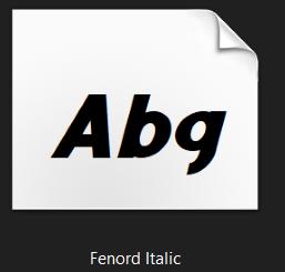 fenord italic font